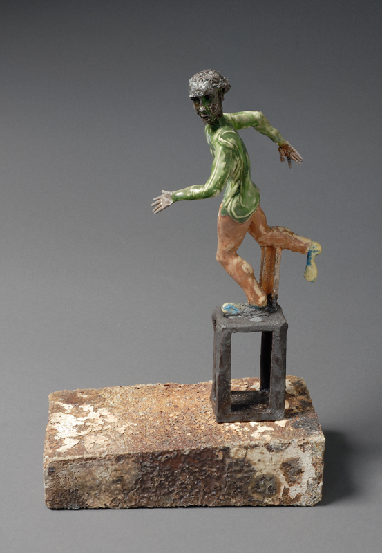 "Nameless Man 2, 2007, clay, glaze, epoxy, 12""x9""x4-1/2"""