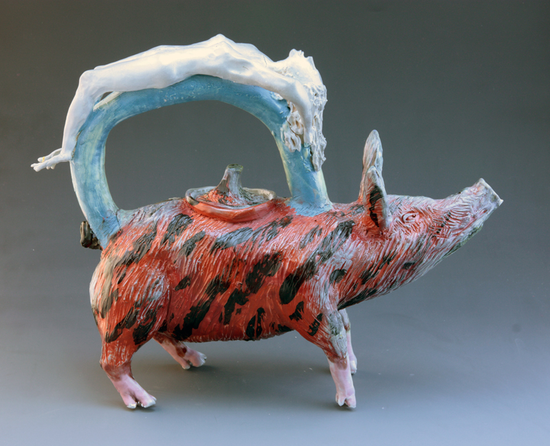 Red pig with woman back stretching, 2013