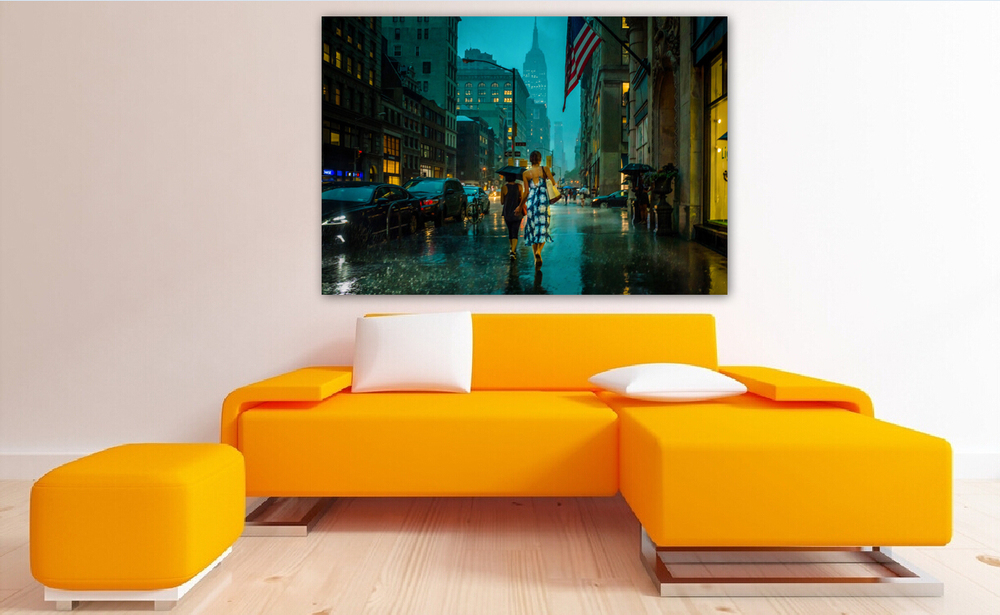Barefoot girl on 5th avenue NYC / 40x60 inches