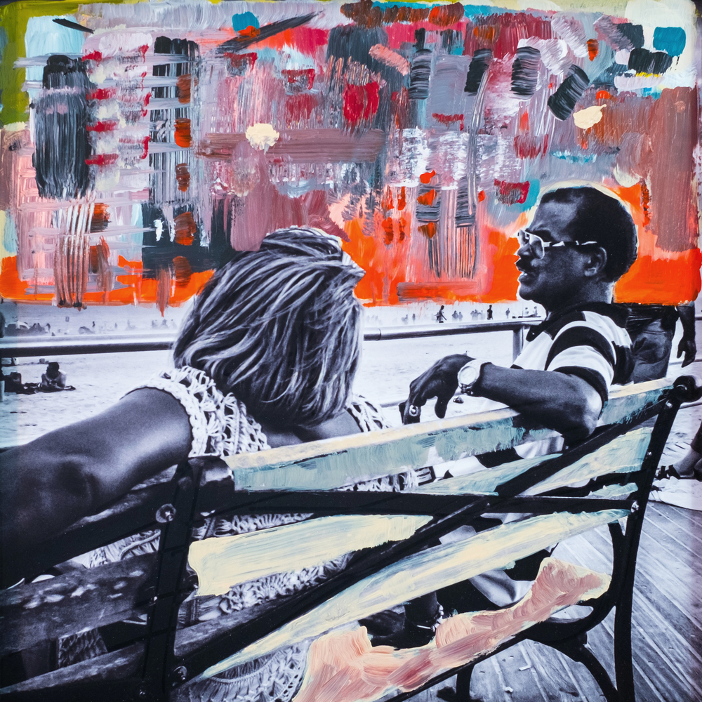 #14 CONEY CONVO oil, acrylic and uv ink on fine art photo paper $350