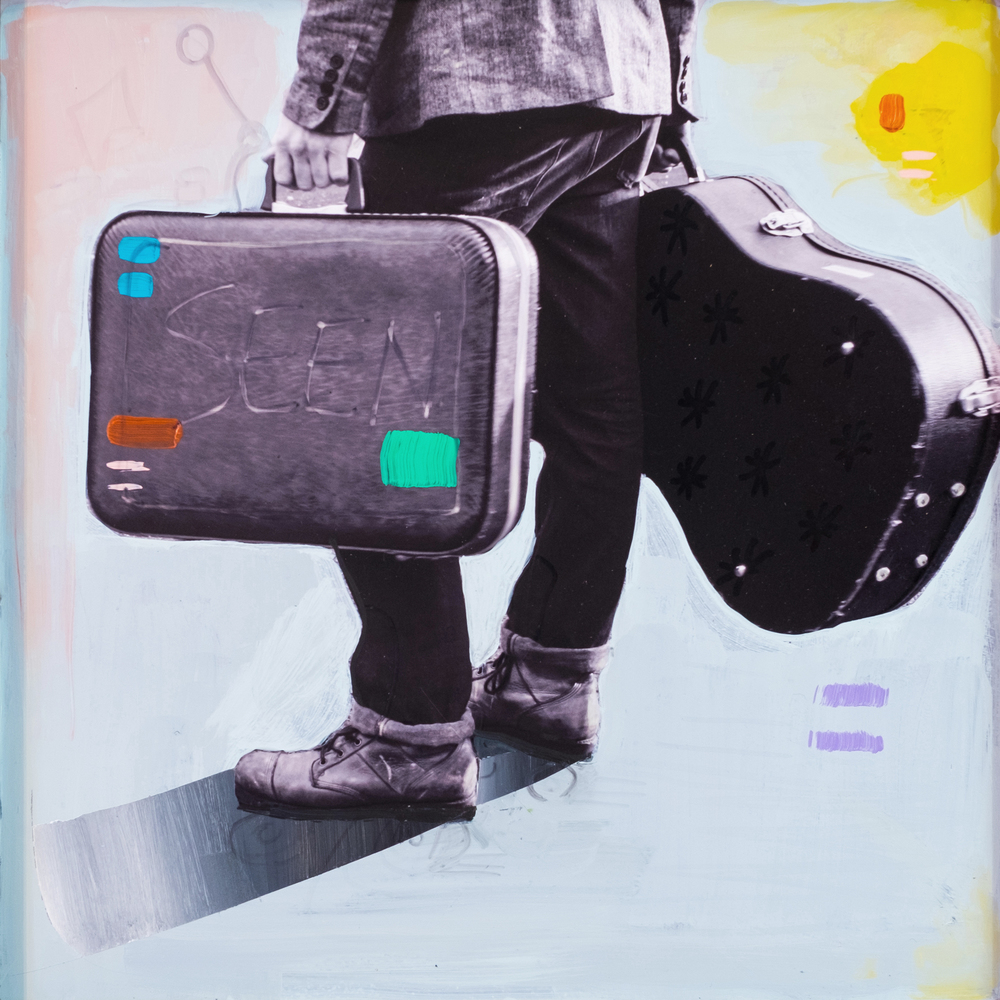 #16 BAG AND GUITAR  (SOLD)  oil, acrylic and uv ink on fine art photo paper