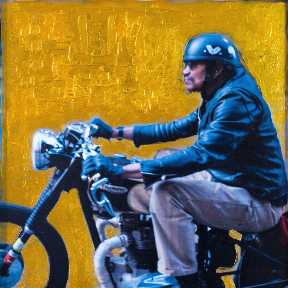 #24 MOTORBIKE  (SOLD)  oil, acrylic and uv ink on fine art photo paper