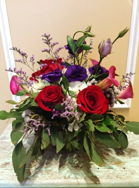 V1 $60-$85. Valentine's Day arrangement. $65 as shown.