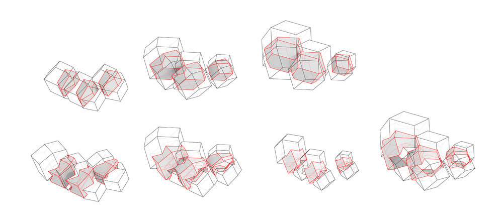 ................ geometric solid diagrams - rhombic docdecahedra ................