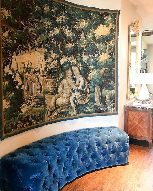 Embracing Our Curves - Custom Bench. #courtneycunninghamdesign #courtneycutchallcunningham #beautiful #project #custom #curves #tapestry #antique #french #paris #france #interiordesign #interiors #velvet #blue #pretty #love #bench #artisan #customdesign #yes #yesplease #design #juxtapoz #bright #historic