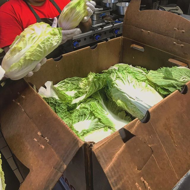 Breaking down a 70 pound box of Napa Cabbage is no easy feat! But our team does it with ease!