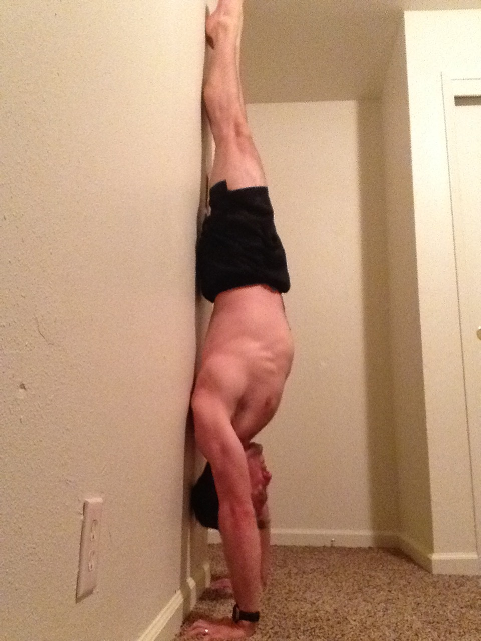 Where I'm at today!  Using a wall is great for getting that straight handstand.