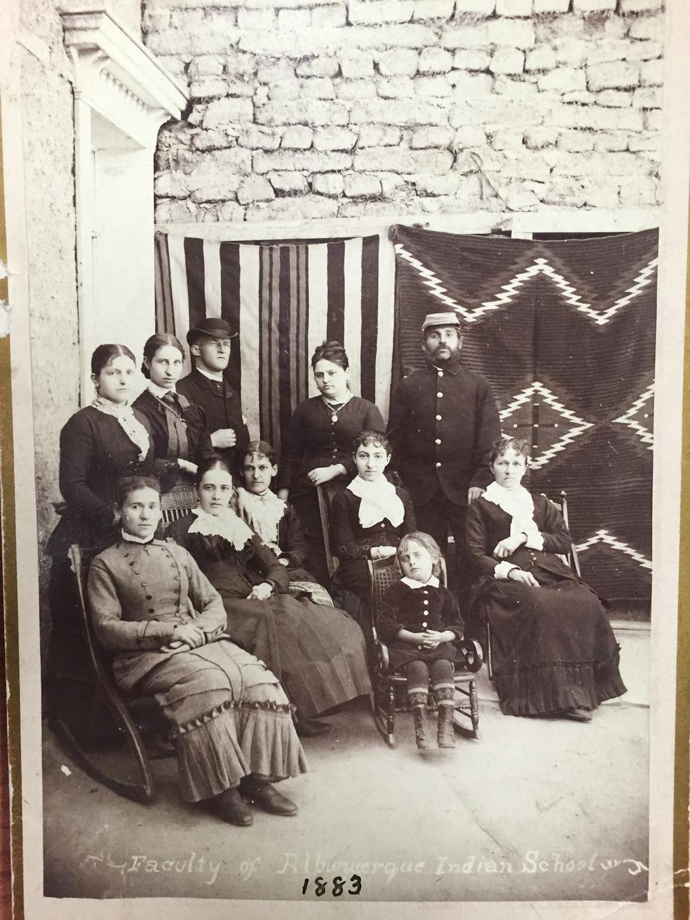 "b16:  ""Faculty of Albuquerque Indian School, 1883"""