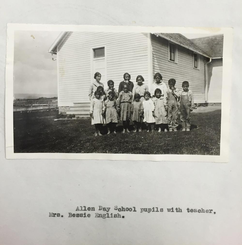 b22:  Allen day school pupiles with teacher. Mrs. Bessie English.