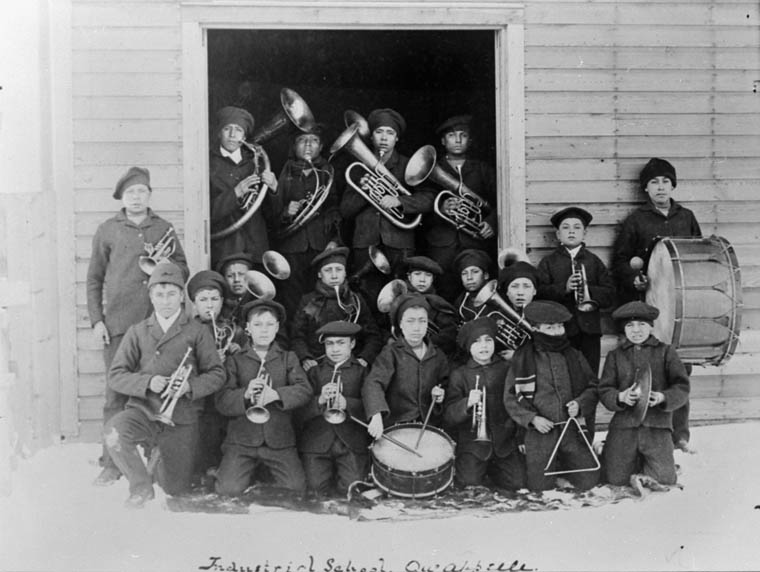 A01:   Fort Qu'Appelle Indian Residential School, boys' musical group, Lebret, date unknown