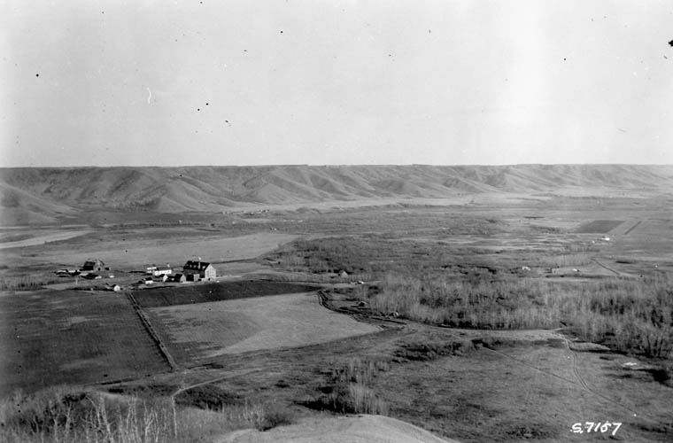 A03:   Cowesses Indian Residential School, distant view, Marieval, 1923