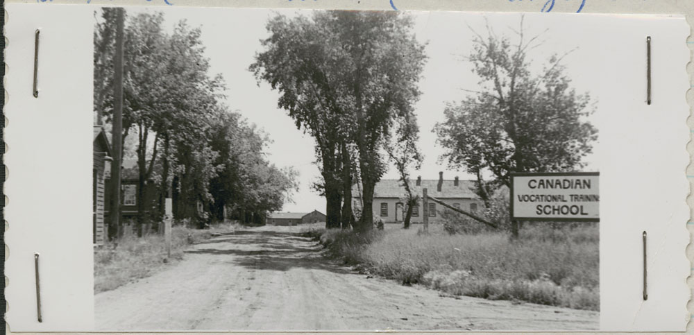 A11:   Prince Albert Indian Residential School, driveway entrance, Lac La Ronge, 1948