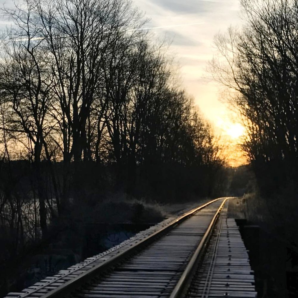 Winter sunrise, Railroad Trestle Bridge