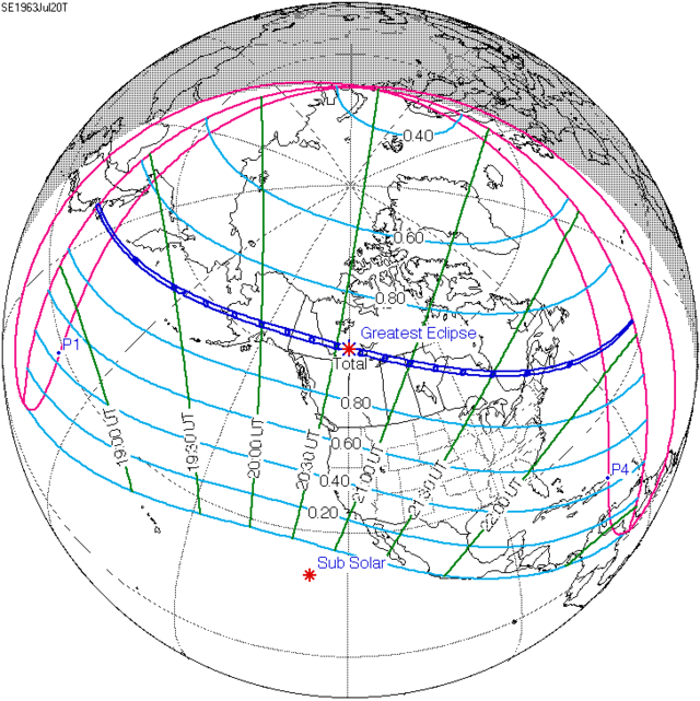 July 20, 1963, Map of Total Solar Eclipse