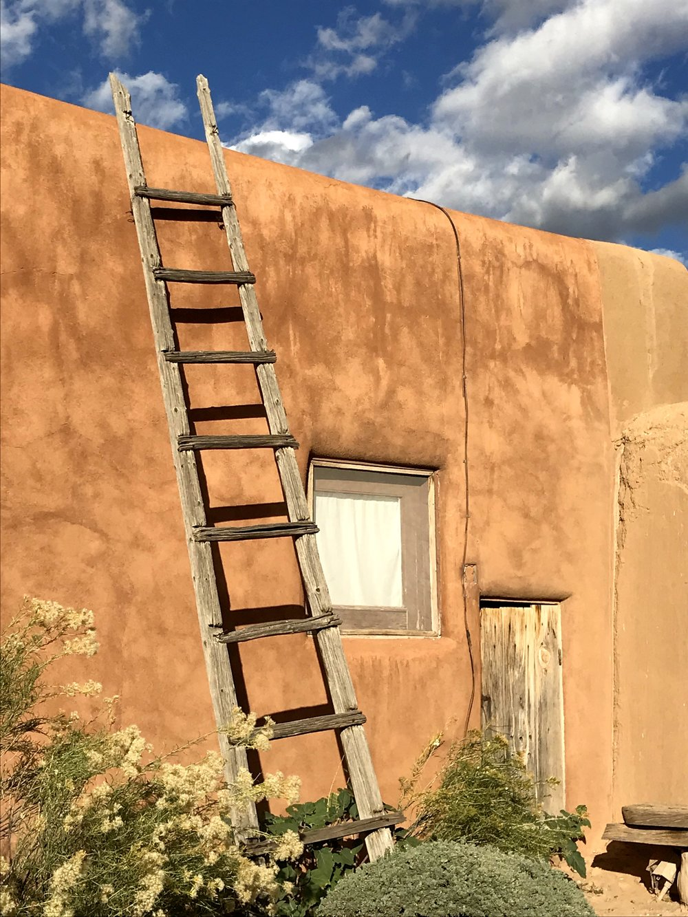 wall with ladder