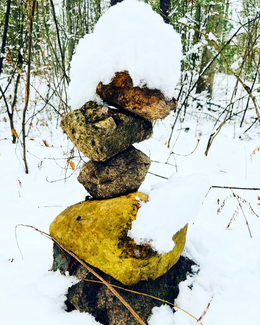 Cairn in snow, Rocky Narrows woods