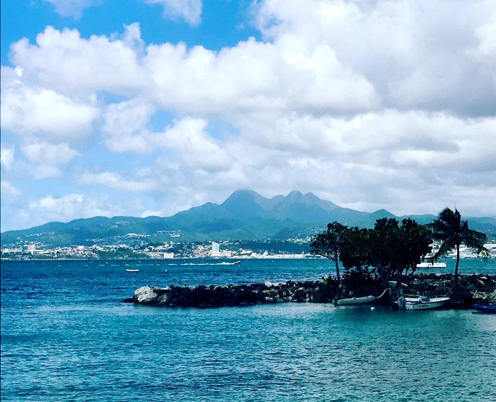 Les Trois-Ilets, Martinique, view of Mount Pelée