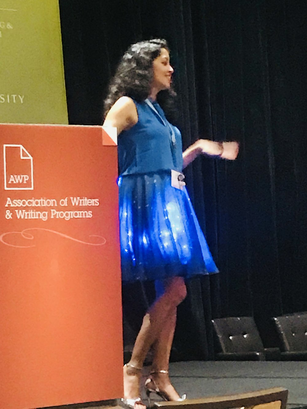 "wearewomenwriting ""Joy is an act of resistance"" thank you for your  #poetry reading today at  #awp18  Aimee Nezhukumatathil  #womenwriters"