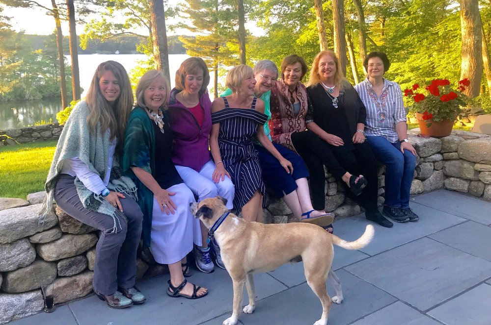Farm Pond Writing Collective  Members pictured from L to R: Megan Walls, Karen Edwards, Mary Beth Hines, Kelly DuMar, Susan Kennedy, Elizabeth Sheehan, Karin Stanley, Claudia Duchene. (Missing are Peggy Gavin & Leanne Labelle.)
