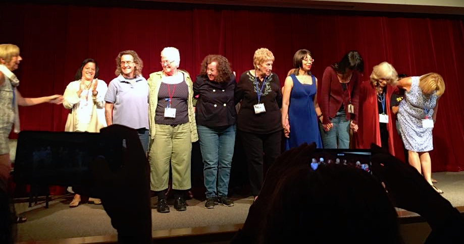 (Left to Right: Kelly DuMar, (Raquel Arrechea, not a playwright), Lisa Shapiro, Ingrid Bruck, Mindy Ohringer, Sue Huggans, Patricia Bell-Scott, Suzanne Westhues, Linda Bergman, Marisa Moks-Unger