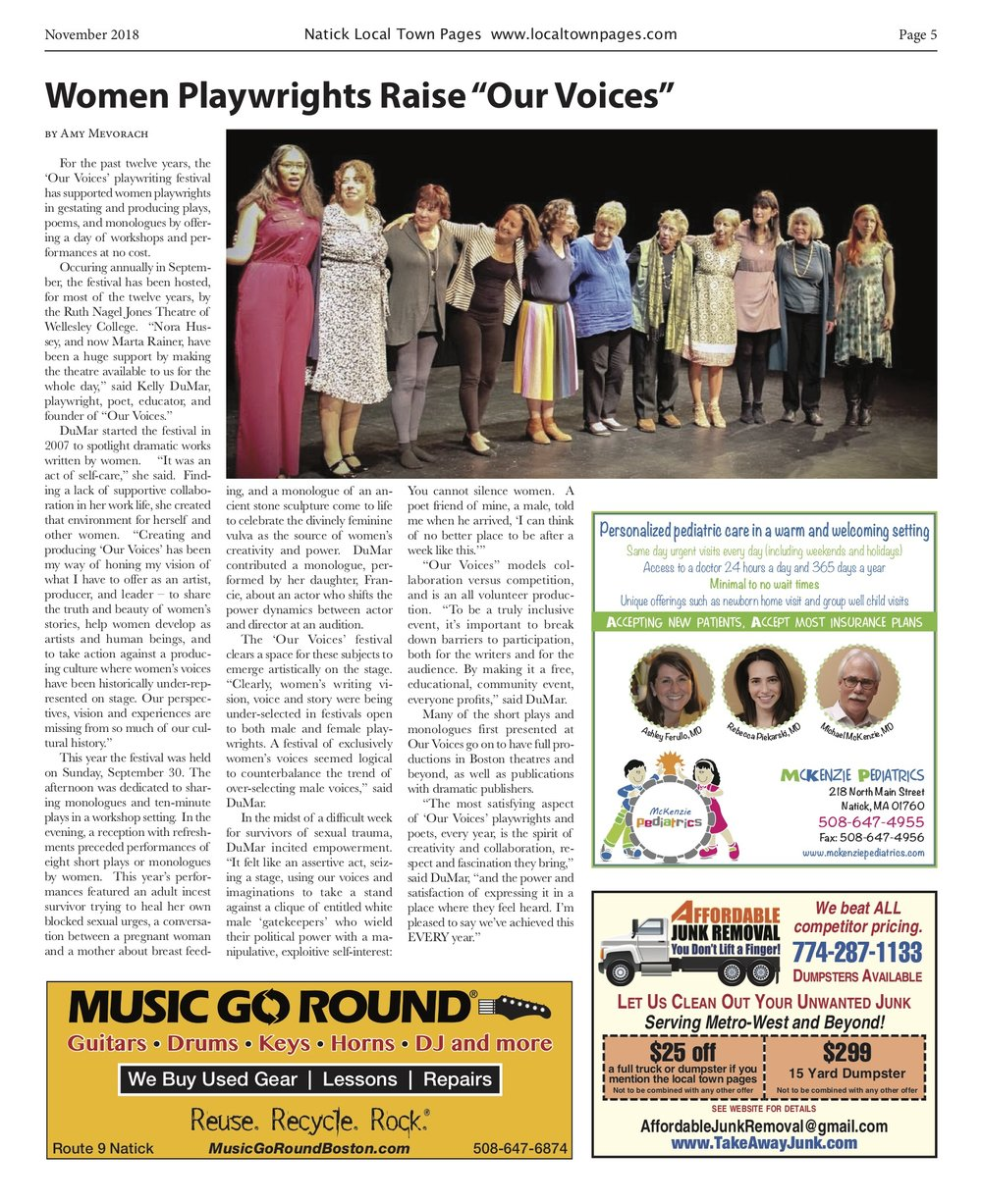 http://www.localtownpages.com/content/women-playwrights-raise-%E2%80%9Cour-voices%E2%80%9D?fbclid=IwAR0yVsDnWpa6TT4xgZkJ4SOGYqCq-EnAlYxZymYpUc6bY4J_rN0EKY4rb2s