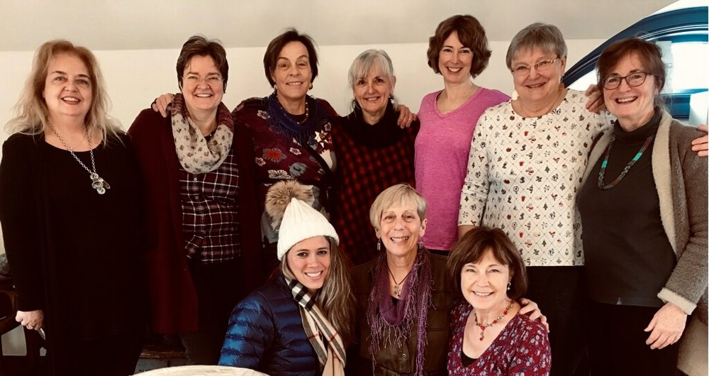 FROM REAR LEFT: Karin Stanley, Claudia Duchene, Elizabeth Sheehan, Deborah Marshall, Mary Beth Hines, Susan Kennedy, Peggy Gavin; FRONT LEFT: Megan Walls, Kelly DuMar, Leanne Labelle; December 2019