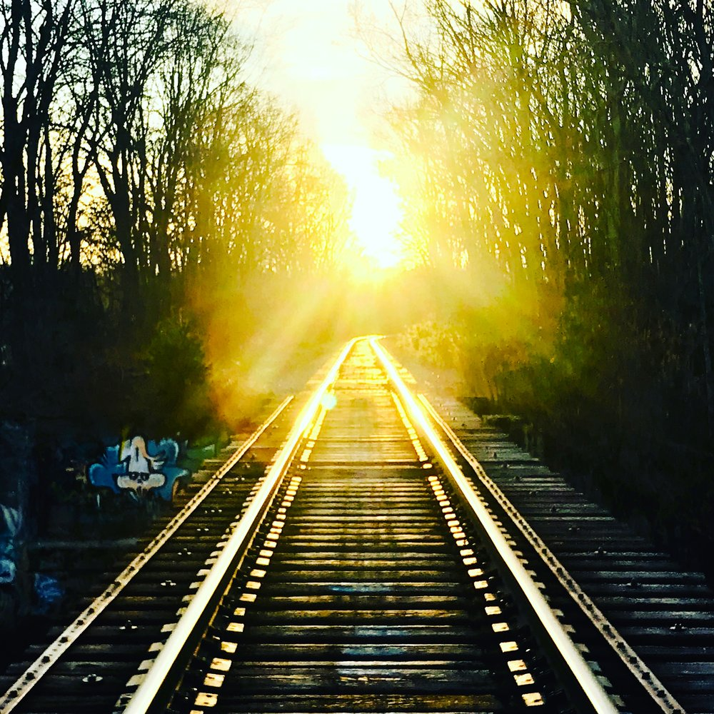 Railroad Trestle Bridge over the Charles River, morning sun