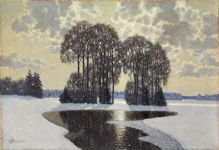 Winter    Vilhelms Purvitis   Date: 1910  Style:  Art Nouveau (Modern) , Impressionism   Genre:  landscape   Media:  oil ,  canvas   Location: Latvian National Museum of Art, Riga, Latvia
