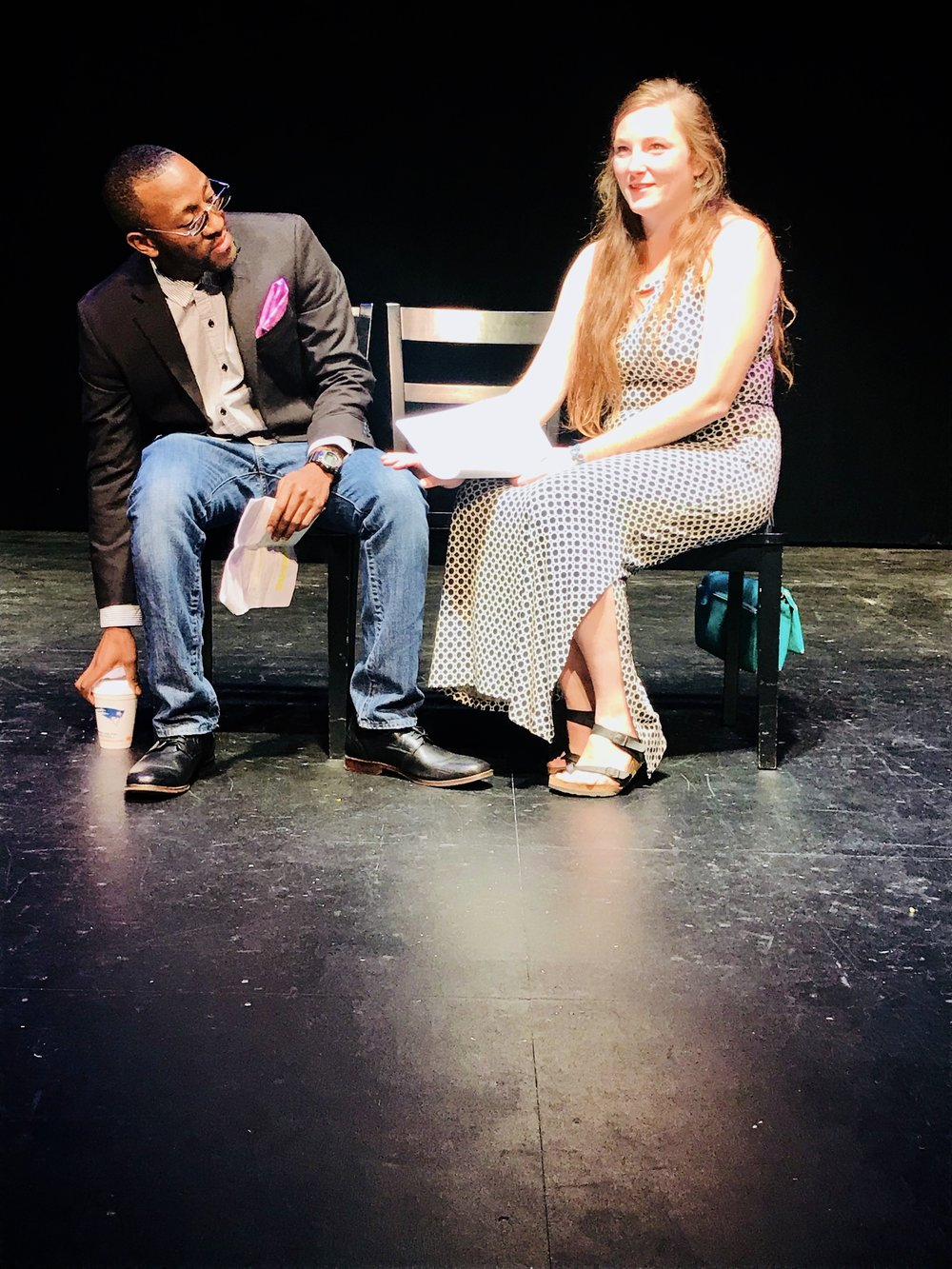 Jamaal Eversley (L) & Rachel Nagin (R), play the roles of Emmanuel and Rachelle in Caution, by Fabiola Decius, Our Voices XII.  Photo Credit: Kelly DuMar