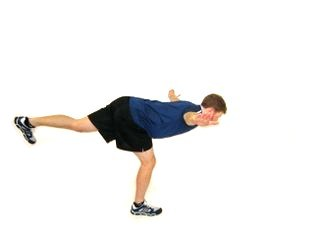 5. Airplane Stretch - Keep left knee slightly bend - Kick right foot as high as possible - keep back tight - Alternate