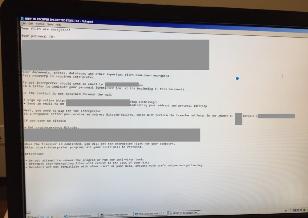 Ranson notice from hackers