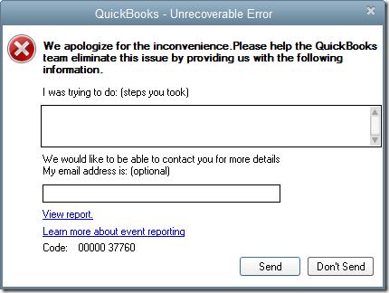 Quickbooks crash