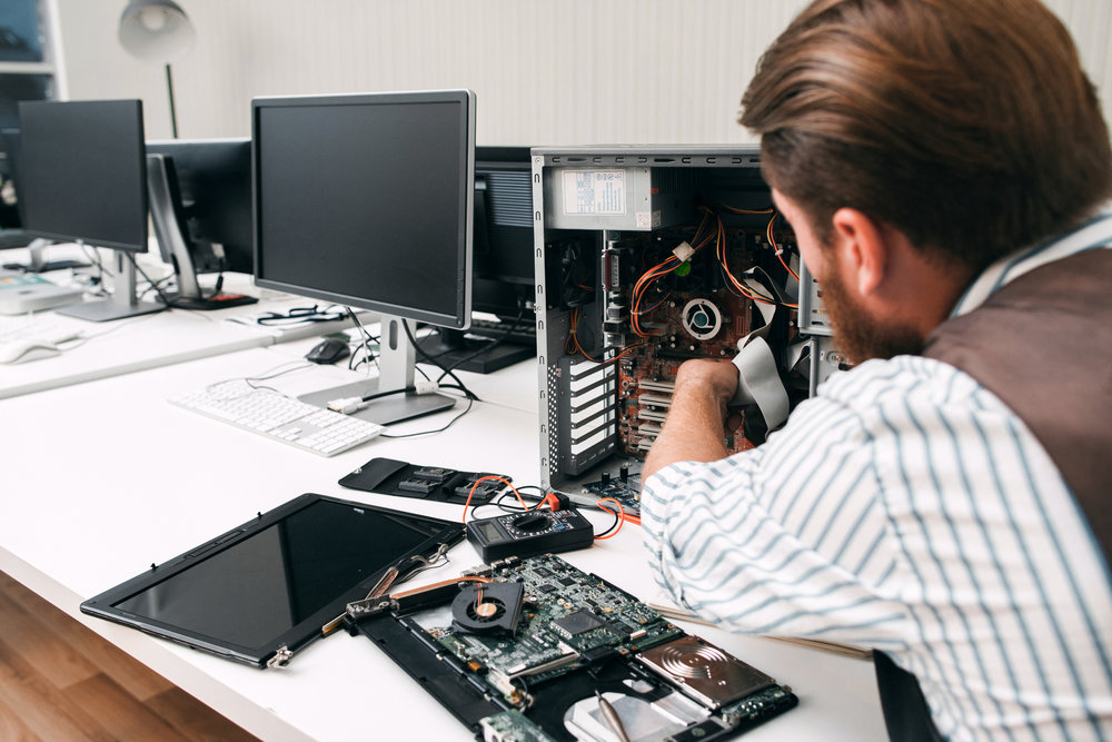 IT support fixes problems with PCs, servers, and network equipment. - I.E. failed hard drives, virus infections, blue screens, performance issues, error messages, etc