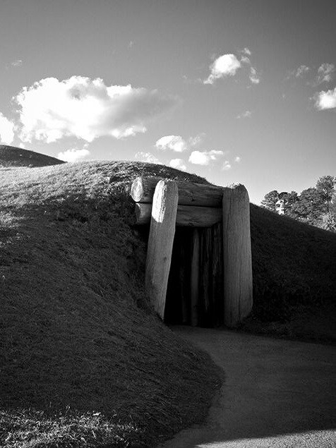 Earth Lodge  ,    Matthew Smith,   2011   The Earth Lodge is one of eight distinct mounds found at Ocmulgee National Monument. A low sun casts distinct shadows on the mound entrance, which contrasts the clear sky above. Soft curves highlight the skilled precision of the ancient architects that created the structure over 1000 years ago.