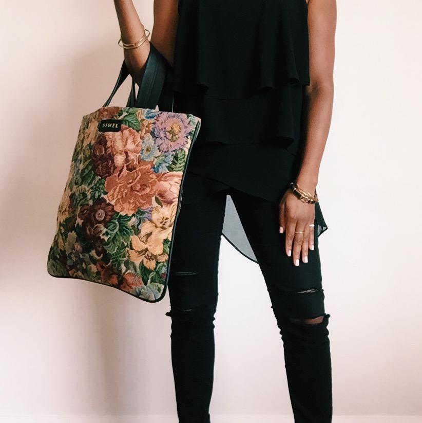 SIWEL Handbags - Floral Fabric Tote Bag.JPG