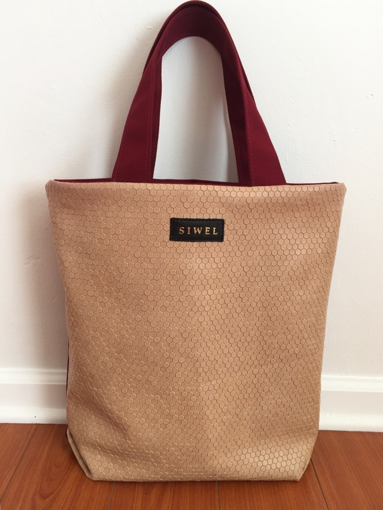 Nude Embossed Leather Tote Shopper Handbag.jpg