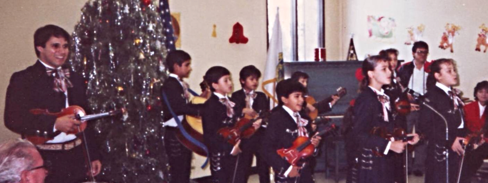 Morales (far left) and his first youth ensemble, Mariachi Edimus, from Hermosillo, Sonora, circa 1987