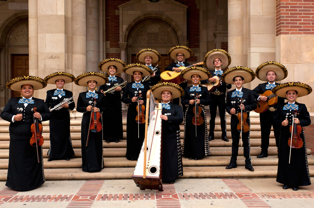 Collegiate ensemble, Mariachi Uclatlán, circa 2013.  Jazmín Morales (fifth in front row), an alumna of The Mariachi Studio, obtained her bachelor's degree in Ethnomusicology from UCLA.
