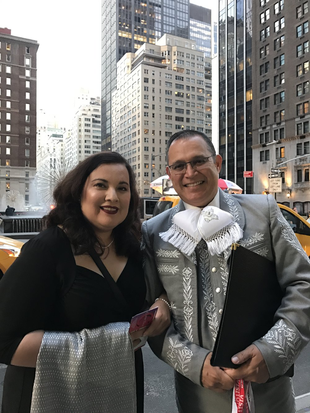 Directors Leticia and Juan Morales, on their way to Manhattan's Carnegie Hall, to witness the debut performance of their daughters, Xóchitl and Anaí Morales, with youth Mariachi Mestizo
