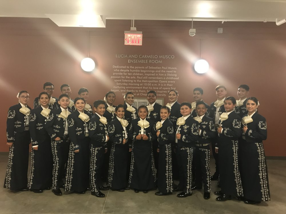 Mariachi Mestizo's musicians' ages range from 10 to 19 . The ensemble offers a clean, family-oriented repertoire and is available to perform at any event for a donation.