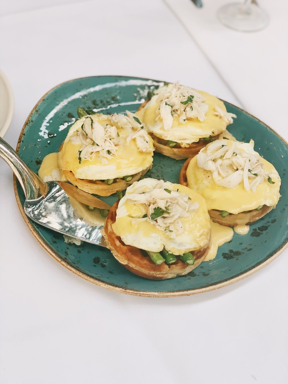 Kodiak Cake Buttermilk Waffle and Crab Oscar -