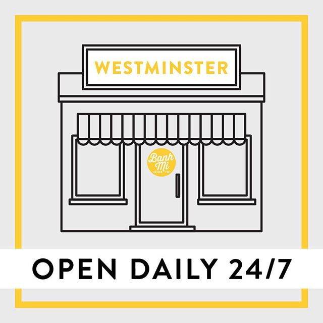 Effective TONIGHT as of Friday, June 8, 2018, our Westminster location will be open 24/7! 📢 Come hang with us in our lounging chairs and tables outside of our restaurant, or if you're coming to work/study/play/etc. we have many USB charging outlets inside.