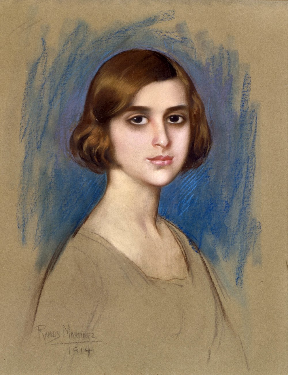 Retrato de una Dama (Portrait of a Lady)  1914 pastel on cardboard / pintura al pastel sobre papel cartón 25.2 x 19.3 inches / 64 x 48.9 centímetros Private collection
