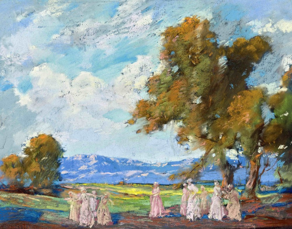 Paisaje con Damas en el Campo   / Landscape with Ladies in the Countryside  1922 gouache and pastel on paper / aguada y pintura al pastel sobre papel 14.4 x 18.5 inches / 36.5 x 47 centímetros Private collection