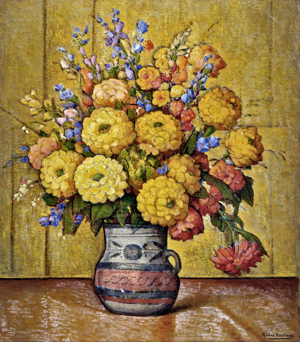 Flores en un Jarro de Guadalajara / Flowers in a Guadalajara Vase  ca. 1930 oil on canvas / óleo sobre tela 32 x 28 inches; 81.3 x 71.1 centímetros Private collection
