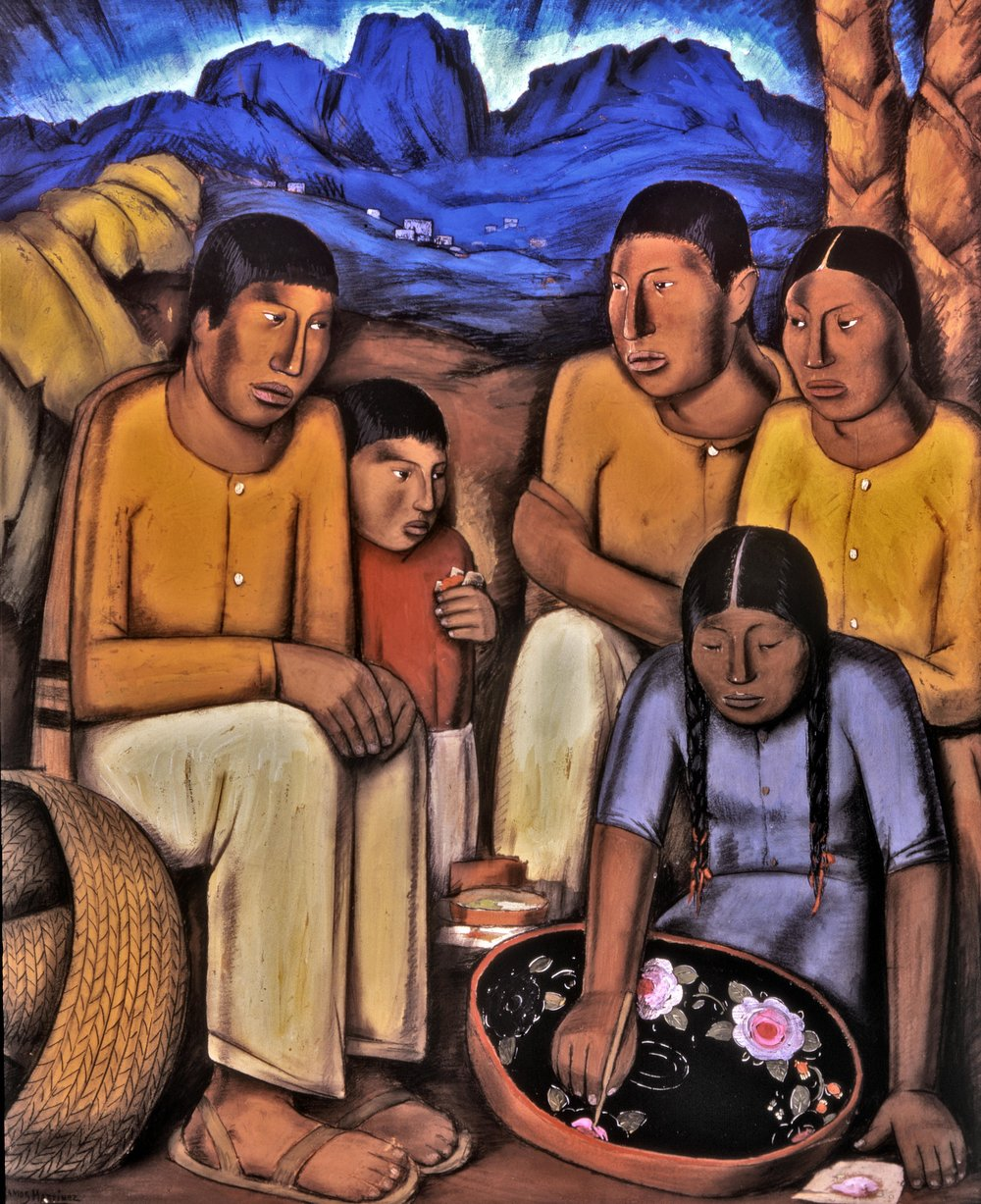 La Pintora de Uruapan / The Painter from Uruapan  ca. 1930 tempera on board / temple sobre tabla 47.5 x 38.8 inches; 120.7 x 98.4 centímetros Private collection