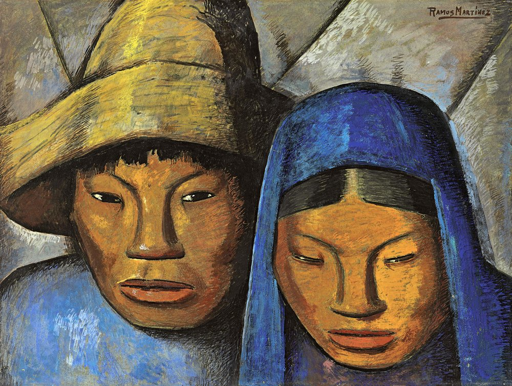 La Pareja en Azul / The Couple in Blue  1930 oil on board / óleo sobre tabla 18.1 x 2 inches / 46 x 61 centímetros Private collection