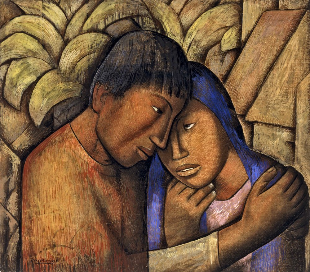 Los Amantes / The Lovers  ca. 1930 watercolor and gouache on paper / acuarela y aguada sobre papel 22.8 x 25.6 inches / 57.8 x 65.1 centímetros Santa Barbara Museum of Art