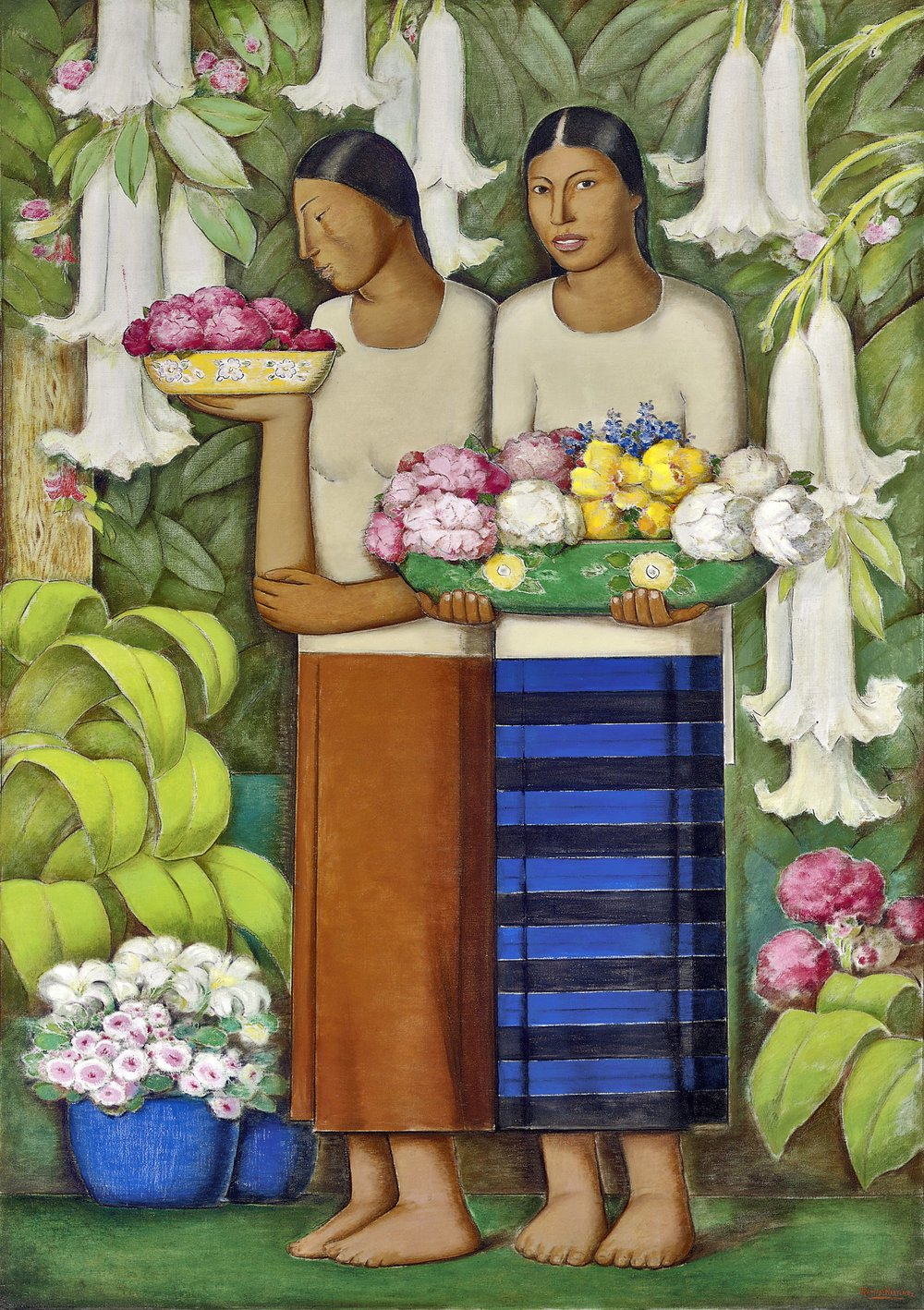 Mujeres Cargando Flores / Women Carrying Flowers  ca. 1932 oil on canvas / óleo sobre tela 59 x 36.5 inches; 149.9 x 92.5 centímetros Private collection