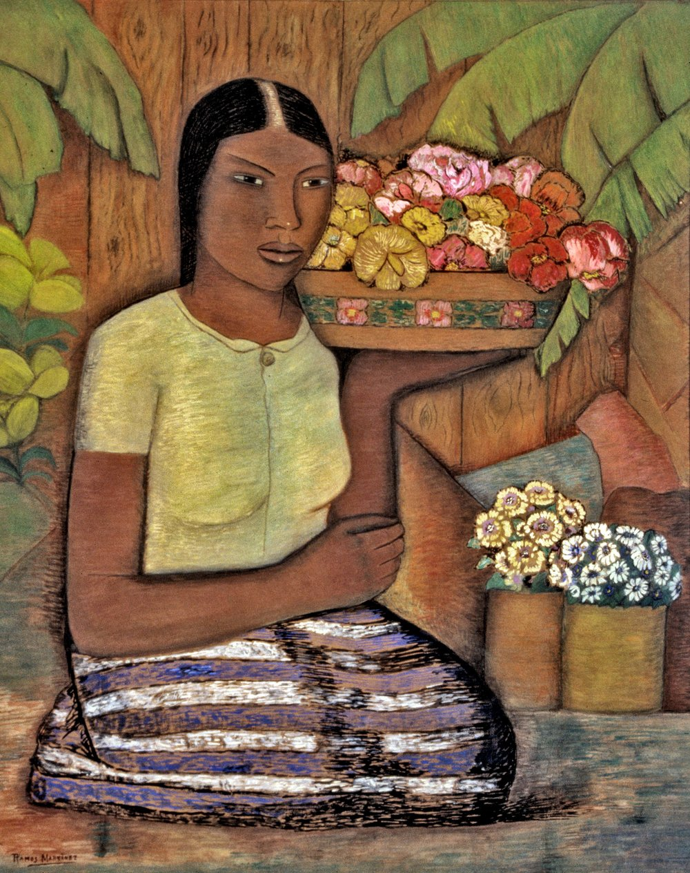María Entre Flores / Maria Amidst the Flowers  ca. 1930 tempera and charcoal on board / temple y carbón sobre tabla 37 x 29.5 inches; 94 x 74.9 centímetros Private collection